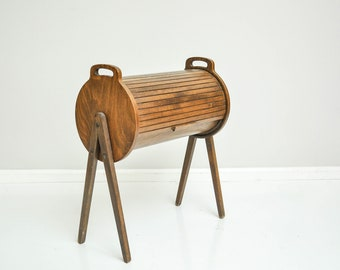 Mid-Century Danish Style Roll Top Sewing Storage Cabinet
