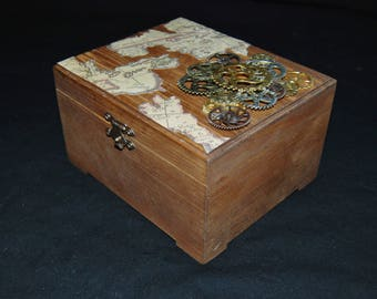 Wooden Steampunk Jewelry Box Keepsake Box Map Collage Decoupage Gears Lined with Black Felt Home Decor Storage Box Gift for Him Gift for Her