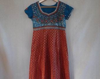 Teal and Rust Sequined Dress