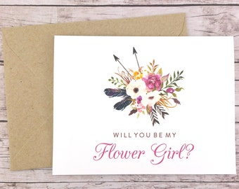 Will You Be My Flower Girl Card, Flower Girl Proposal Card, Floral Wedding Card, Flower Girl Gift, Rustic Wedding Card - (FPS0022)
