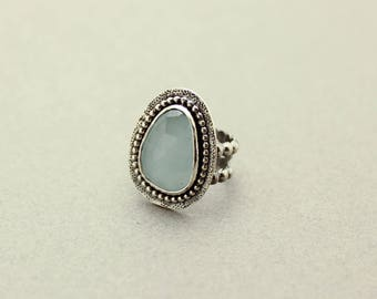 Gemstone Ring, Solitaire Ring, Aqua Chalcedony, Blue Gemstone Ring, Sterling Silver Ring, JMK Jewelry, Statement Ring, size 6.5