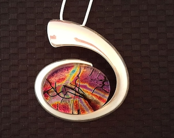 Dichroic Glass Spiral Pendant in Silver Setting with Chain