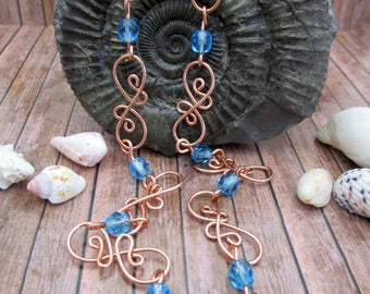 Turquoise beaded necklace, Copper necklace, Wire wrap necklace, Seventh anniversary gift, Wedding anniversary, Copper Jewelry, Gift for her