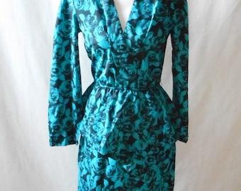 Vintage 1980s Shamadi Floral Peplum Dress, Vintage Dress, 1980s Dress, Blue and Black Floral, Peplum, Vintage Shamadi