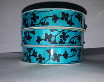 Turquoise and Black Cherry Blossom Ribbon