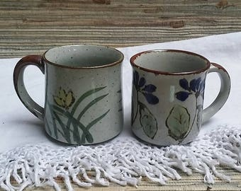 Vintage Coffee Mugs 1970s Japanese Ceramics Mid Century Pottery