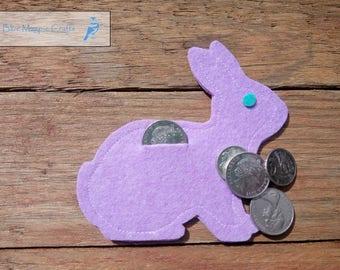 Rabbit Coin Purse, coin purse, felt purse, felt coin purse,  kids purse, Easter bunny purse