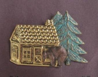 Place du Nord cabine avec ours et arbre broche - BZ dessins originaux