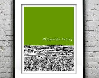 Willamette Valley Oregon Poster Art City Skyline Print OR
