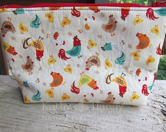 Zippered Pouch | Makeup Bag | Lined Bag | Chicken Fabric | Hens and Chicks Fabric Makeup Bag | Small Gift Under 20 | Camera Accessory Bag