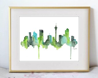 Watercolor Painting Auckland New Zealand Skyline Print Wall Art Abstract Painting Minimalist Painting Large Wall Art Housewarming Gift