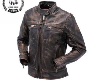 Women's Vintage style Motorcycle Leather Jacket