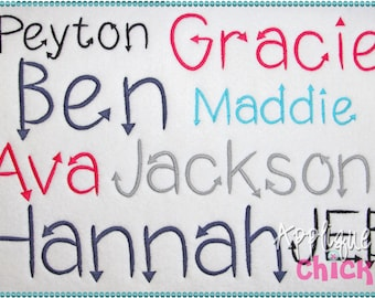 Arrow Embroidery Font Instant Download