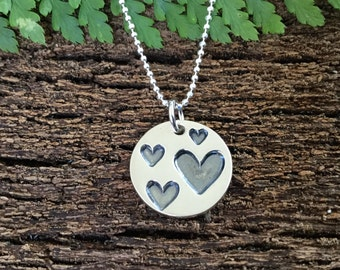 heart pendant, silver heart necklace, sterling silver hearts, gift for girlfriend, gift for mum, gift for wife, teenage girl gift