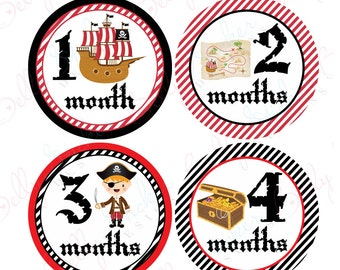 Boy Monthly Baby Stickers, 1 to 12 Months, Monthly Bodysuit Stickers, Baby Age Stickers, Pirates