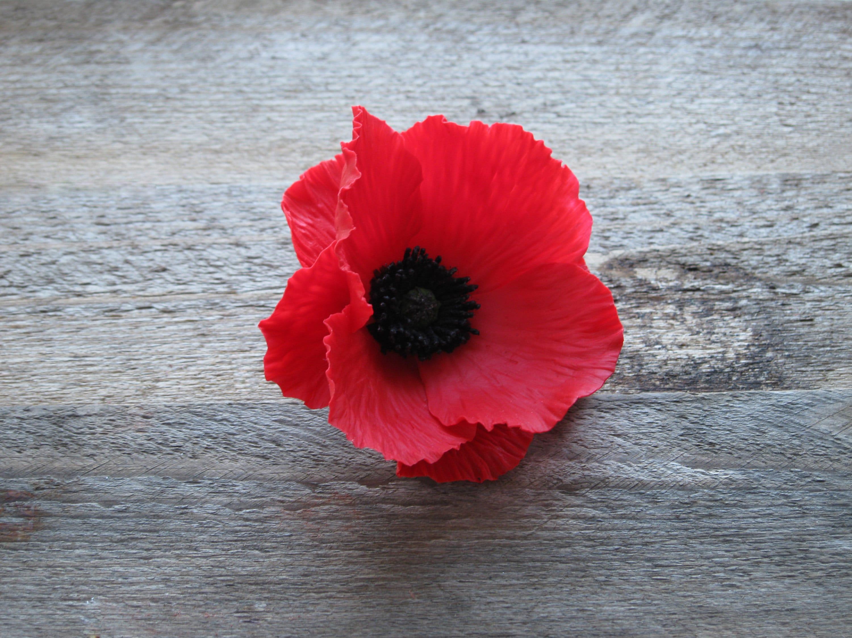 Red Hair Flower Poppy Hair Pin Red Bridesmaid Hair Accessories
