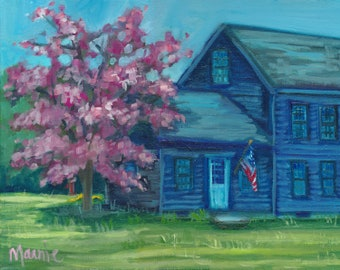 Spring Beauty, country art, new england art, ready to hang, oil painting, original art,