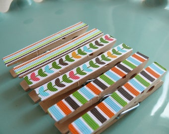 Decorative Decoupaged Clothespins Memo clips ---Sophia Gifts Under 5 Dollars Hostess Gift, Kitchen, Home Organization, Chip Clip, Office