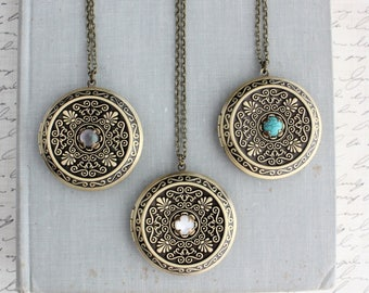 Locket Necklace. Black Pearl, White Pearl, or Turquoise.
