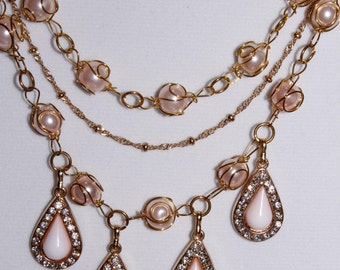 Springtime Collection/3-strand Light Pink Dangling Teardrop Medallions/Gold and Light Pink Combinations