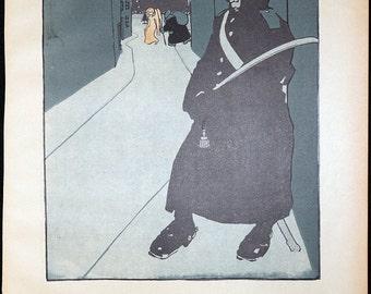 Original 1903 Bruno Paul Lithograph Page Illustration from Simplicissimus #4 * Vintage German Art Nouveau / Art Deco Print Rare Print