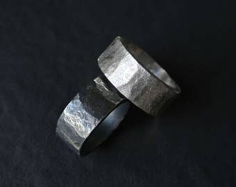 TOKEN Solid sterling silver hand-forged unisex statement ring with heavily textured minimalist design