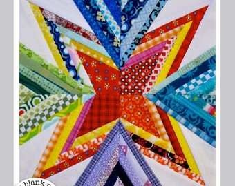 Scrap Attack #201 Paper Pieced Quilt Pattern PDF - 9 in & 12 in sizes