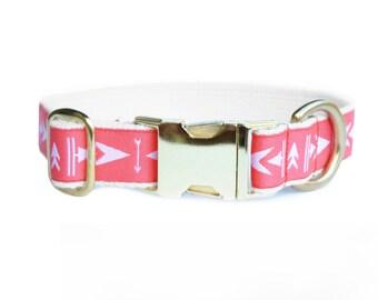 Modern pink collar, dog accessory, adjustable, brass, arrow pattern