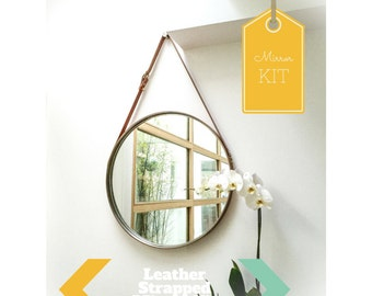 """PREORDER NOBI - TAN Leather Strapped 24"""" Mirror Adnet Jamie Young Style Captain's Mirror Hanging Bddw Gobi"""