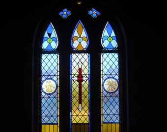 Notecard- Stained glass window, St. Patrick's church, Prince Edward Island, blank greeting card, wedding card. anniversary card