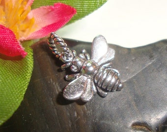 Sale 12 % off  Sterling Silver 3D Honeybee Charm, 2 pcs, 15x13 mm, Oxidized Honey Bee Charm - lovely - timeless - cute - PC-0002