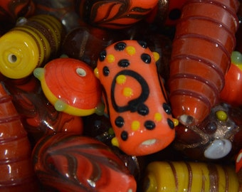 Decorative Lampwork Beads, Colorful Orange Lamp Work Beads, Unique Bumpy Beads for Jewelry Making or Crafting, Bulk Beading Supplies