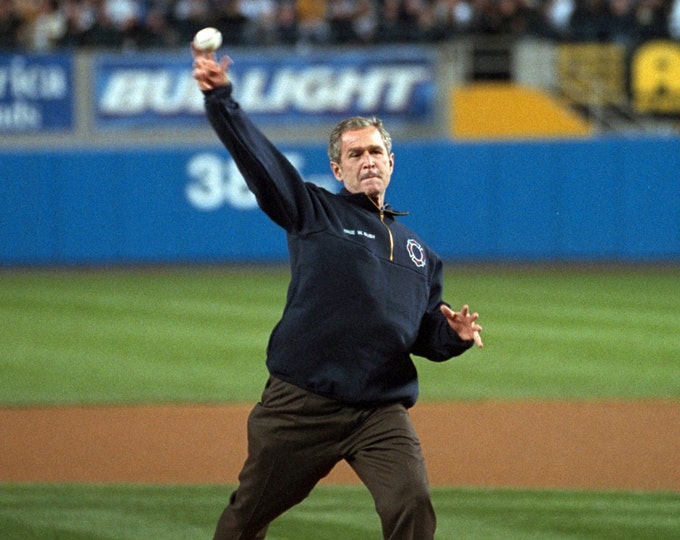President George W. Bush Throws Out the First Pitch During the 2001 World Series in New York City - 5X7, 8X10 or 11X14 Photo (BB-768)