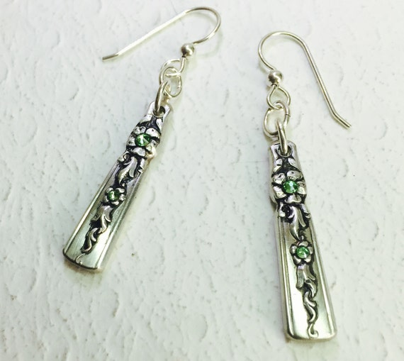 "Dangle Spoon Earrings, Peridot Crystals, ""Moss Rose"" 1949, Silverware Jewelry"
