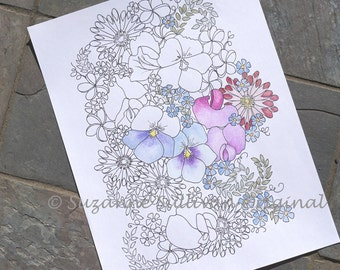 Flower Garden Coloring Page, Springtime Coloring Page, Printable Download, Adult Coloring Page, Coloring Book Page, DIY Flower Coloring