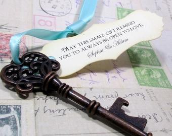 Rustic Key Bottle Opener - Wedding Favor - Skeleton Key - Personalized - Custom - Unique - Set of 10 - Vintage inspired