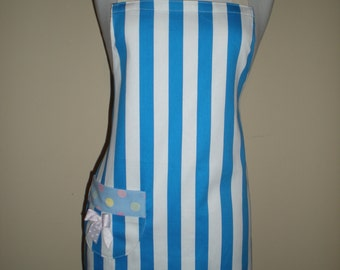 Cotton drill apron blue and white stripes traditional style apron with pocket and bow  Ready to ship