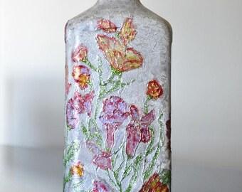 Painting bottle,flowers,upcycled bottles, housewarming gift,centerpiece,house decor,silver bottle,spring,home decor,livingroom decor,gift,