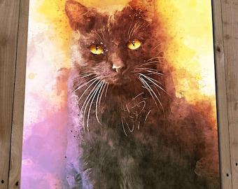 Black Cat Print - Feline Watercolour Art Painting Portrait - Cat Lover Gift - Home Decor Wall Art - Illustration Poster - Kitten Pet Art