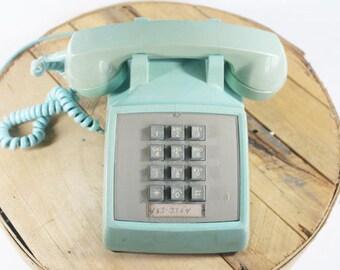 Vintage Mint Green Telephone, Push Button Phone, Vintage Telephone, Bell Telephone