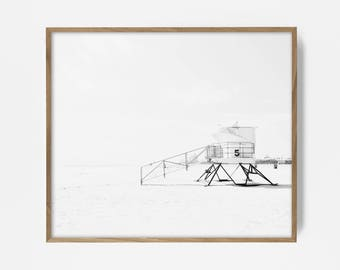 bw surf photo, surf print, black and white beach, beach photo, lifeguard station, bw lifeguard station, cali print, beach art, beach decor