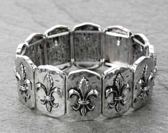 Fleur De Le Stretch Bracelet - Silver