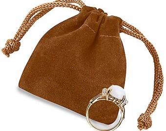 """20 2 x 2 1⁄2"""" Brown Velvet draw string Pouches bags"""