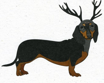 Illustrated Deer Dachshund Blank Card