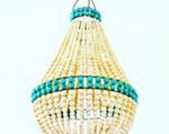 Wooden beaded chandelier