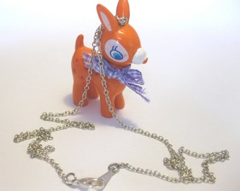 Mini bambi deer on 18 inch silver chain