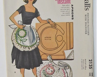 Misses Instant Apron Used Vintage Sewing Pattern With Transfer Mid Century Modern Kitchen Fashion Accessories 1957 McCall's 2135