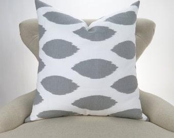 Gray Ikat Pillow Cover -MANY SIZES- Chipper storm grey white custom euro sham throw cushion geometric modern decorative 18x18 24x24 28x28