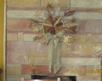 Indian Corn Wreath Thanksgiving/Halloween/Fall Door/Wall/Table Decor #3094