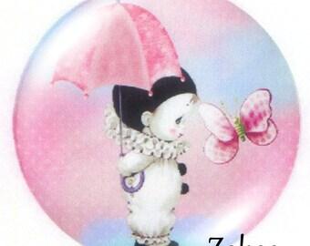 1 cabochon 30mm glass, little Pierrot